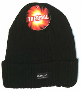 Mens Thermal Thinsulate Style Fleece Lined Beanie- WINTER SKI HAT - (BLACK)