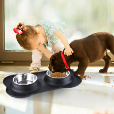 Pet Dog Cat Bowls Stainless Steel Food Water Dish Feeder+ Silicone Non-Spill Mat