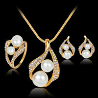HN- FT- Women Wedding Bridal Imitation Pearl Hollow Stud Earrings Ring Necklace