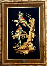 Marquetry Inlaid Wood Picture Of Parrot Birds - By Angelo Lavino Family - Italy