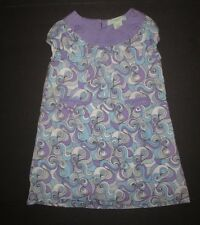 GIRLS LUCY SYKES NEW YORK AQUA BLUE & LAVENDER SWIRL SHIFT DRESS SIZE 4T