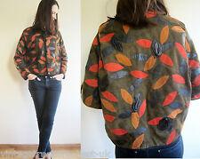 vintage Leather rose patchwork pattern jacket S M