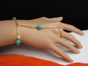 WOMEN GOLD FASHION JEWELRY HAND CHAINS BRACELET TURQUOISE BLUE BEADS SLAVE RING