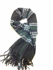 $425 MACYS CLUB ROOM Men UNISEX BLACK BLUE GRAY PLAID CHECK CASHMERE SHAWL SCARF