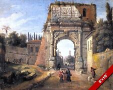 WAR VICTORY ARCH OF TITUS ROME ITALY PAINTING ROMAN ART PRINT ON REAL CANVAS
