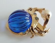 Pearl Sea Crab Nautical Pin Brooch Vintage 70's Pressed Molded Glass Rhinestone