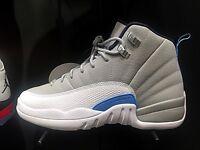 Air Jordan Retro 12 XII UNC Grey White Blue BG GS 153265 007 Kids Women 5.5Y