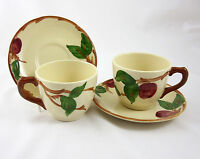 Franciscan China Apple 2 Cup & Saucer Sets TV Backstamp Vintage 1960s USA