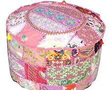 """22"""" Embroidered Patchwork Ottoman Comfortable Floor Cotton Ethnic Pouf Cover"""