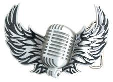 Music Microphone with Flying Wings Metal Belt Buckle