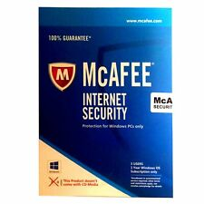 McAfee Internet Security Physical Keycard, 3 PC 1Yr Protection, Fast Delivery