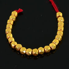 """3mm 18k Solid Yellow Gold Nuggets Findings Beads 2.5"""" Strand (22)"""