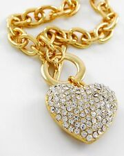 F1 Crystal Puffy Heart Love Valentine Toggle Chain Necklace Gold Tone