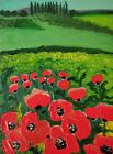 """Original oil painting Poppies without frame  size 9x7"""" (24x18 cm)  canvas board"""