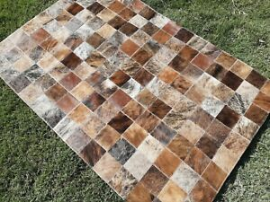 COWHIDE PATCHWORK CARPET AREA RUG Cow hide Brindle small WOWW