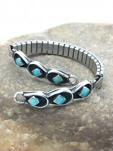 Native American TURQUOISE Sterling Silver Watch Tips Stretchable Band 5.5 4072