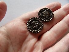 """ART DECO  BLACK WITH GOLD OVERLAY & SELF SHANK FLOWER BUTTONS 7/8"""" 22MM Z15"""