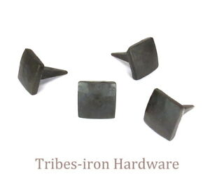 "10 Handmade 3/4"" Square Head Nails Wrought Iron Antique Door Decor Rustic Studs"
