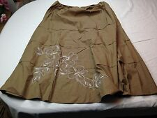 NWT Talbots Women Brown White Embroidered Floral Cotton Below Knee Skirt XL