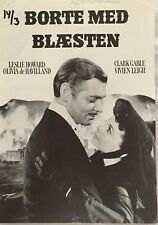 Gone With The Wind Clark Gable Vivien Leigh Vtg 1939 Danish Movie Press Release