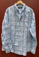 Vineyard Vines Tucker Shirt XL Classic Blue Plaid Button Down Long Sleeve Linen
