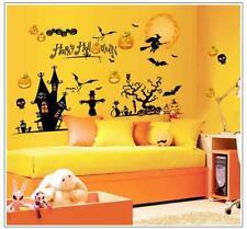 Halloween Witch Pumpkin Bat Scary Window Wall Sticker Decor Vinyl Decal Stickers