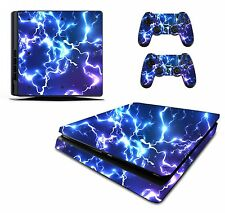Blue Electric Sticker/Skin PS4 Slim Playstation 4 Console/Remote controller,pss4