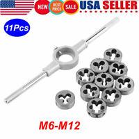 11PCS M6-M12 Manual Screw Thread Metric Plugs Taps wrench Die Wrench Tap Set USA