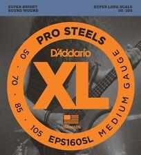 D'Addario ProSteels Bass Guitar Strings, Medium, 50-105, Super Long  Scale
