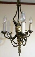 Antique Ornate Art Deco Era 3 Arm Ceiling Fixture Torch & Wreath - Sturdy Brass