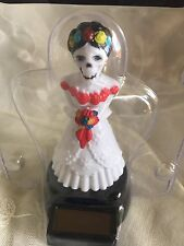 Dia de Los Muertos Solar Skeleton Bride Bobble Head Day of Dead Watch Video Toy