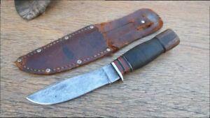 Beautiful Antique REMINGTON USA Carbon Steel Fixed Blade Hunting Knife w/Sheath