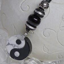 SET Yin und Yang Magnesit Obsidian Kette 925 Silberperle Onyx Ebenholzperlen