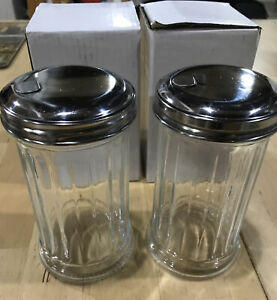 Retro Style Sugar Dispenser, Stainless Steel Pour-Flap Lid. 12 oz. Set of 2. New