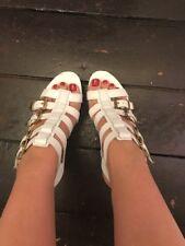 Aldo Leather White Buckles Gold Heels 7 NWOB $100