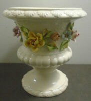 VINTAGE WHITE RAISED FLOWERS PORCELAIN PEDESTAL BOWL VASE ITALY 6.75""
