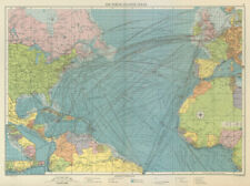 North Atlantic Ocean sea chart. Ports lighthouses mail routes. LARGE 1959 map