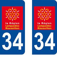 Département 34 sticker 2 autocollants style immatriculation AUTO PLAQUE