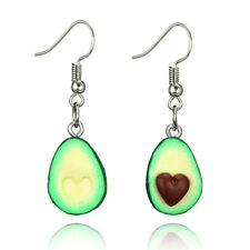 Avocado Drop Dangle Oval Heart Ear Stud Earrings Polymer Clay Jewelry FO