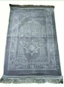 Grey Plain Padded Prayer Mat Thick Non Slip Islamic Janamaz