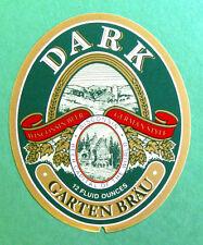 GARTEN BRAU DARK beer label WI 12oz