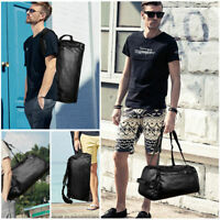 New Large Men's Leather Travel Backpack Weekend Overnight Duffle Bag Handbag