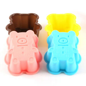4PCS Cute Bear Silicone Cookies Molde Cake Mold Muffin Cup Kitchen Bakeware^lk