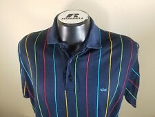 Paul Shark Yachting Men Short Sleeve Striped Dark Blue Cotton Polo T-Shirt 3XL