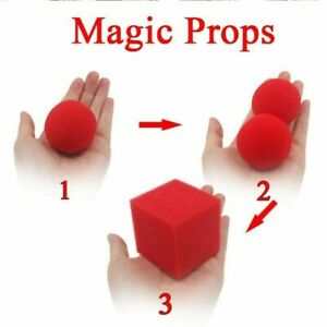 Square 5cm Red Cube Sponge Ball in to 2 X 4.5cm Balls Kid Clown Ball H6Y2