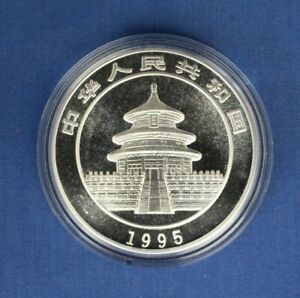 1995 China 1oz Silver Panda 10 Yuan coin in Capsule with COA