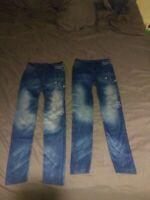 Lot of 2 Leggings Jean stretch sz m