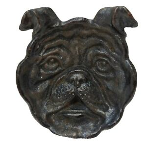 VTG Cast Iron Bulldog Tray Figural High Relief Dog Head