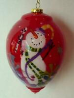 Snowman Decorated Red Glass                 Winter Christmas Ornament  Year 2011