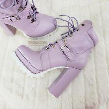"""Liliana Lilac Purple Lace Up 4.75"""" Chunky Heel Lug Sole Platform Ankle Boots"""